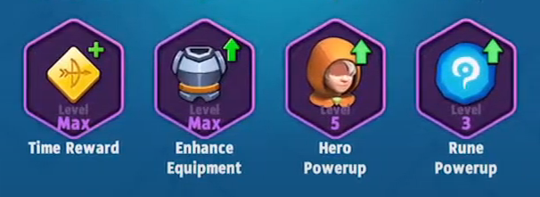 Archero Epic Talents List including time reward, enhance equipment, hero power up, and rune power up